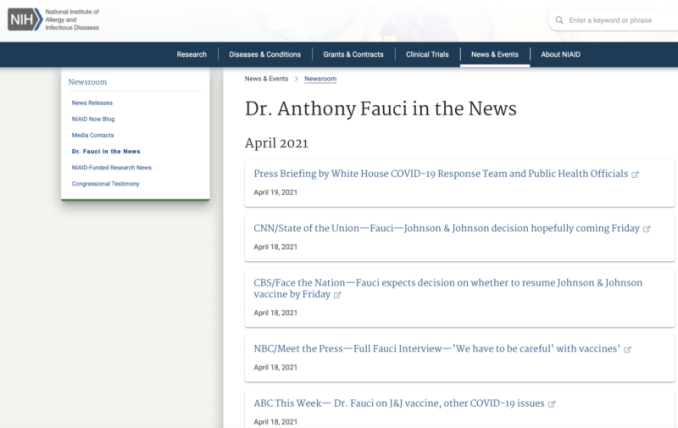Fauci News Appearances