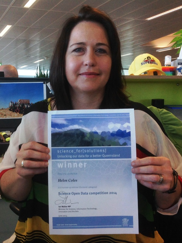 Brisbane geoscientist Helen Coles with her Open Data Competition certificate