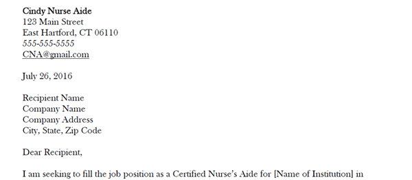 Nurse S Aide Cover Letter Sample Aigrads
