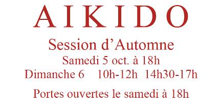 3 et 4 Octobre : Session d'Automne et Portes ouvertes