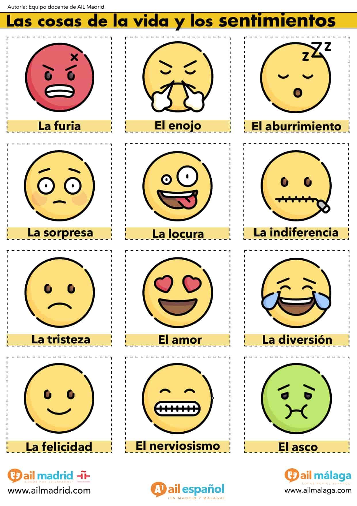 Actividad De Espanol De A1 De Sentimientos Y Emociones