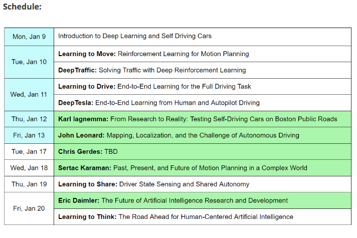 Deep Learning for Self-Driving Cars Schedule