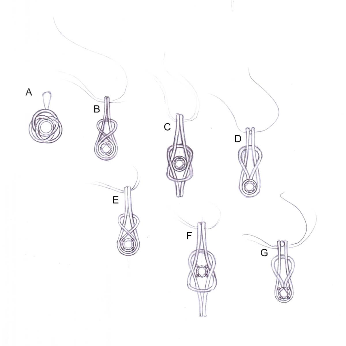 Silver Diamond Knot Pendant