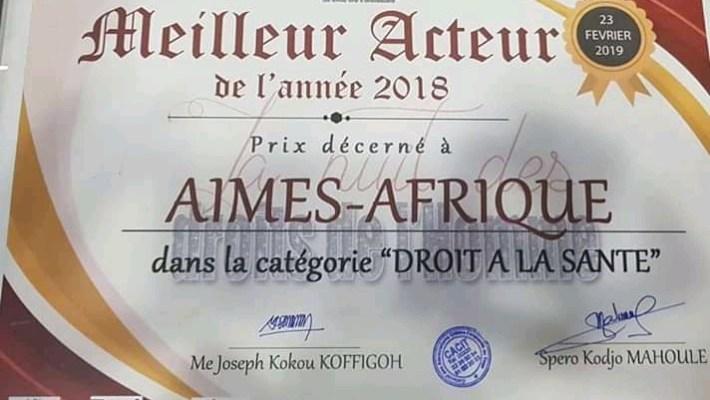 AIMES-AFRIQUE élu «Meilleur acteur de l'année 2018» par le CACIT