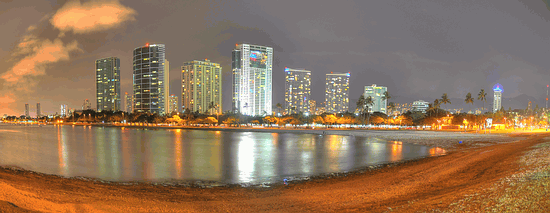Ala Moana Beach & Highrises from Magic Island, Honolulu, Oahu, Hawaii