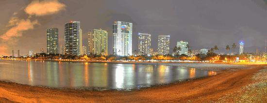 Ala Moana Beach & Highrises from Magic Island, Honolulu, Oahu, Hawaii