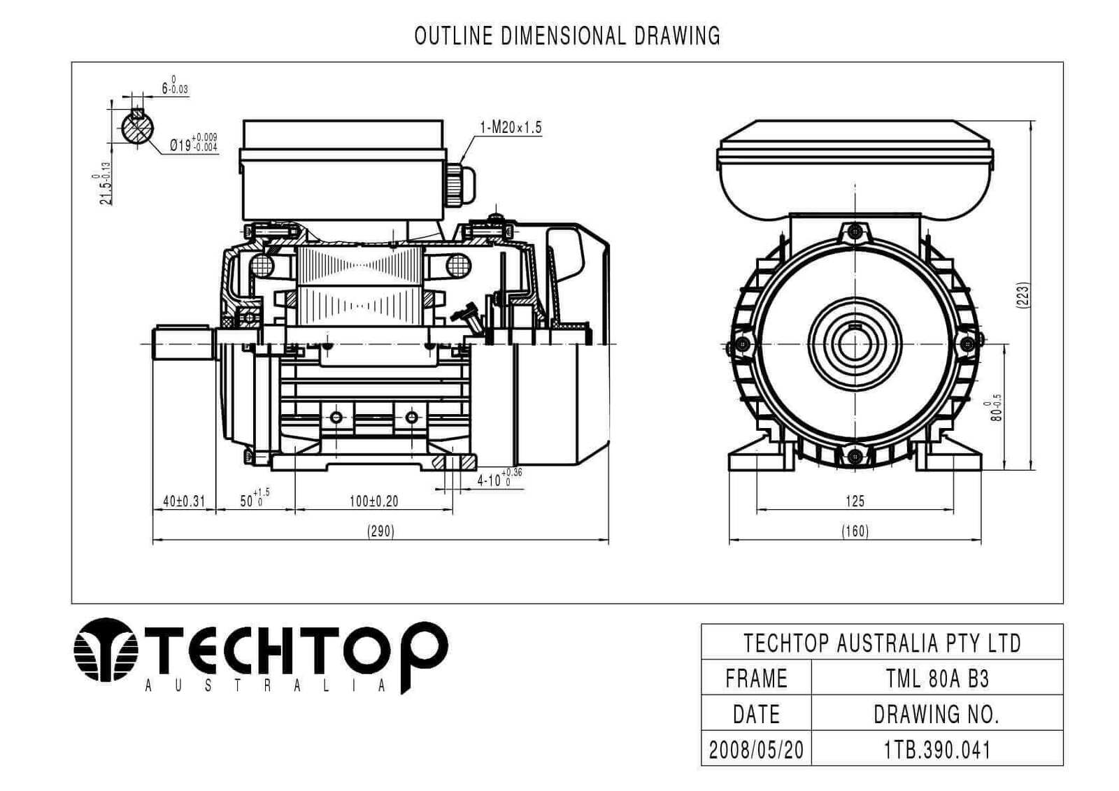 Techtop 0 75kw Motor 240v 1 Phase 2 Pole Rpm Foot