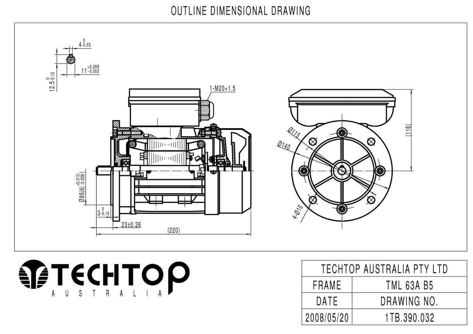 Techtop 0 25kw Motor 240v 1 Phase 2 Pole Rpm Foot