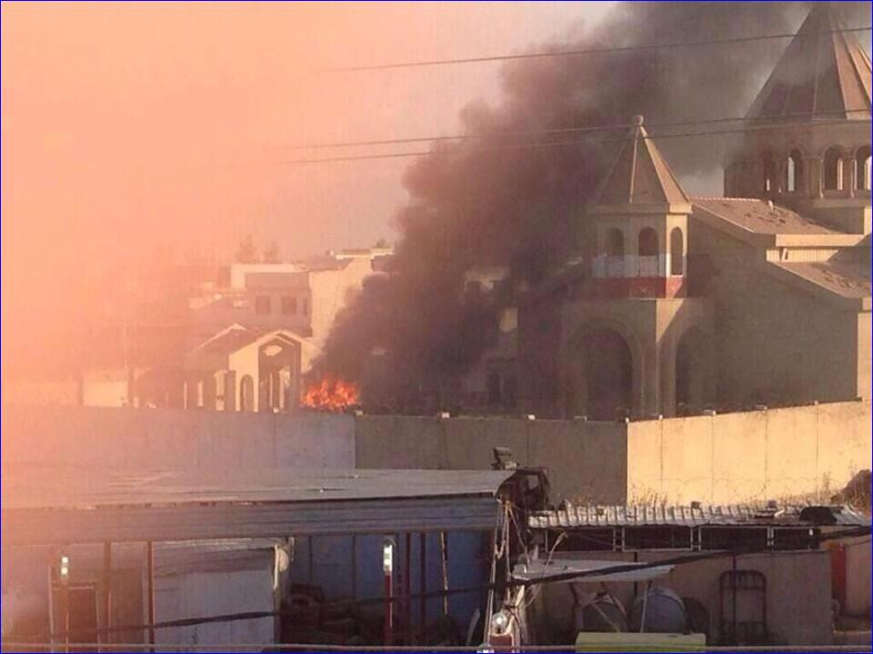 St. Etchmiadzin Armenian church following attacks by ISIS. (c) Assyrian International News Agency (AINA), 12th June 2014
