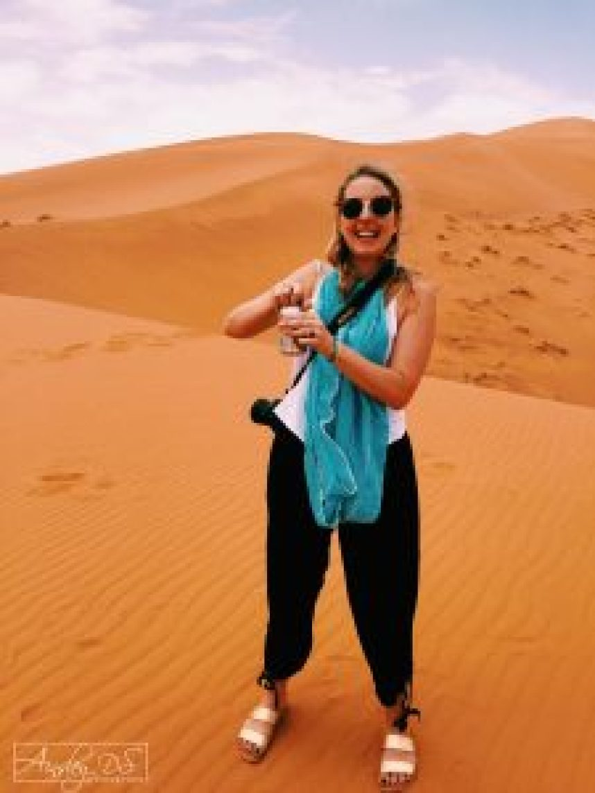 A cold beer in the heat of the Sahara! Caravanserai Luxury desert camp. Merzouga, The Sahara, travel blogger Ainsley About the world