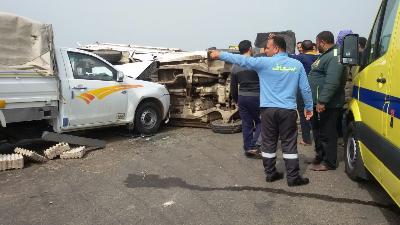 إصابة 13 شخص إثر حادث مروري مروع في بلبيس