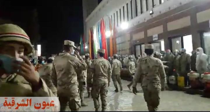 الجيش الثاني الميداني ينفذ عمليات التعقيم ضد كورونا بمحطة الزقازيق