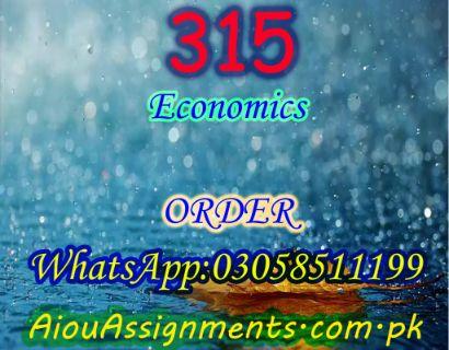 315 Economics FA Spring 2019 | AiouAssignments.com.pk