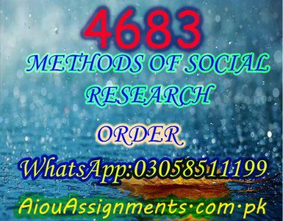 4683 METHODS OF SOCIAL RESEARCH MSc Sociology Spring 2019
