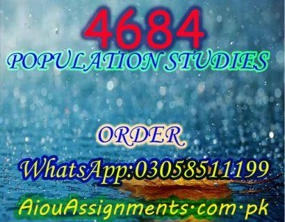 4684 POPULATION STUDIES MSc Sociology Spring 2019