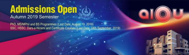 Aiou Admission for autumn 2019 open now. You can take admission in Matric, FA, BA, B.Com, B.Ed, M.Ed, M.Sc in autumn 2019 admission.