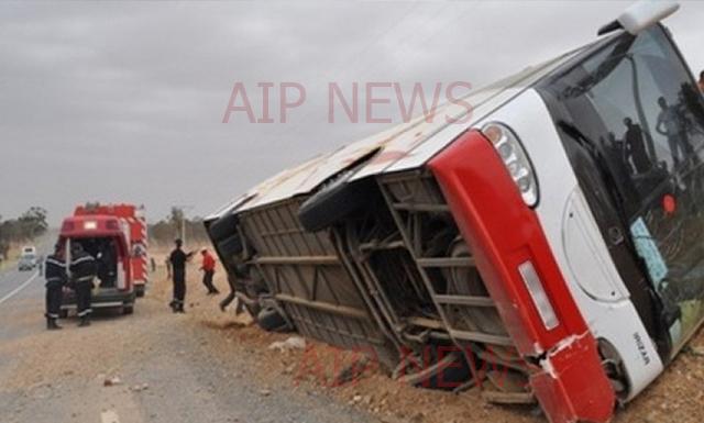 تونس : إصابة 16 شخصا في انقلاب حافلة سياحية جزائرية في سيدي بوزيد