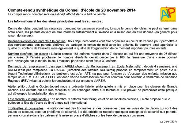 2014-11-20 Conseil d'école CR synthétique