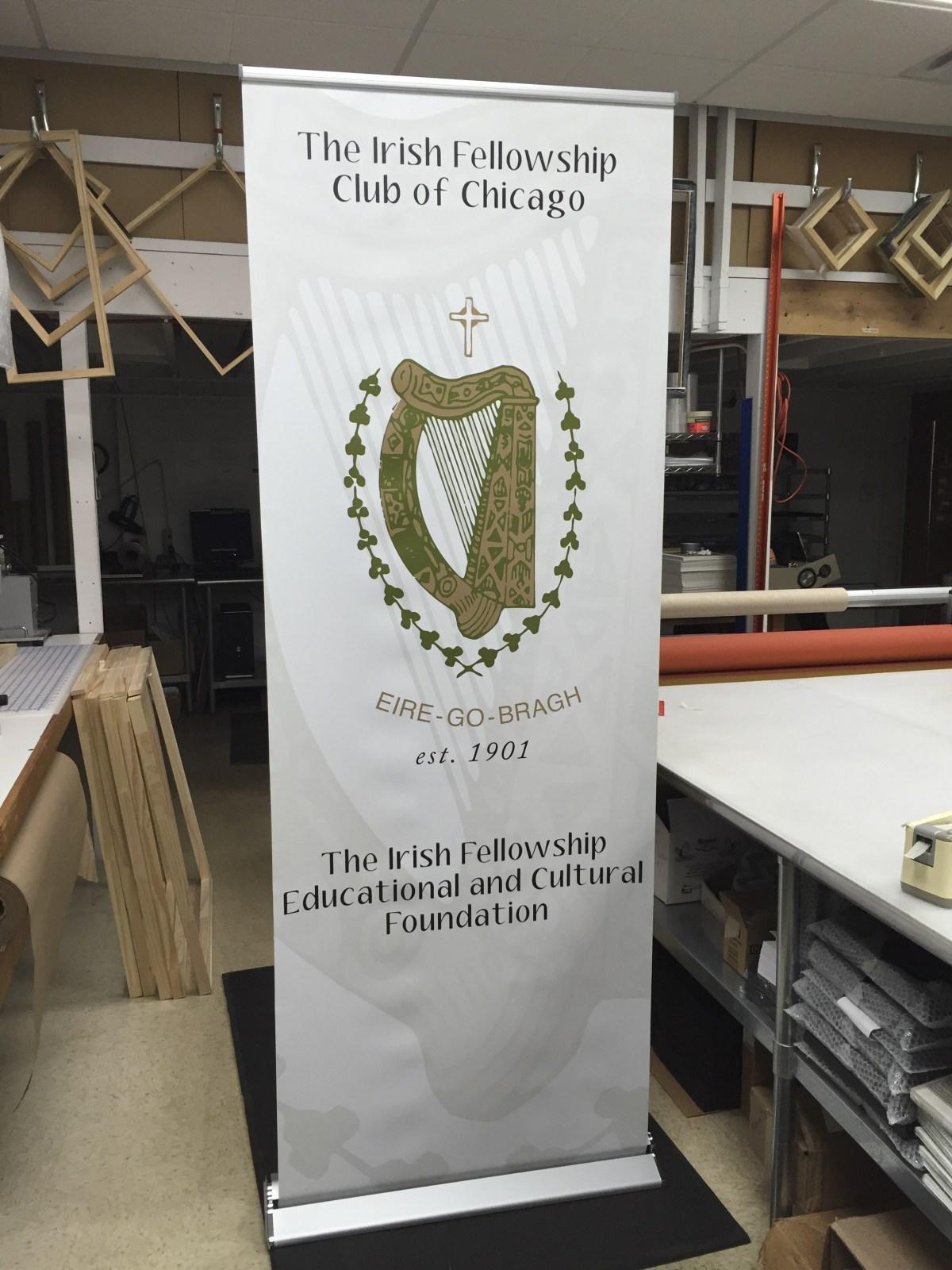 The Irish Fellowship Club vinyl banner