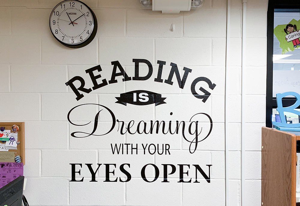 Reading cut vinyl wall graphic
