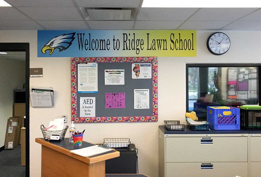Ridge Lawn School vinyl wall banner