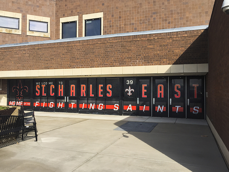 St. Charles East Entrance perforated vinyl