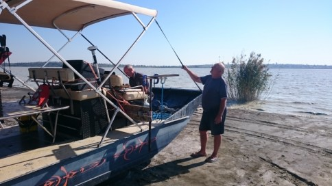 rigging the airboat and testing equipment