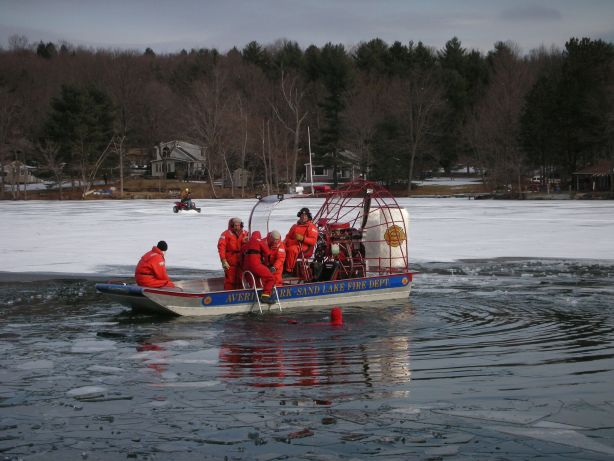 Averill Park - Sand Lake Volunteer Fire Department conducting ice rescue training. The airboat is the only vehicle able to launch rapidly and traverse with equal ease on solid ice, floating ice or open water to quickly provide help when mere seconds make all the difference.