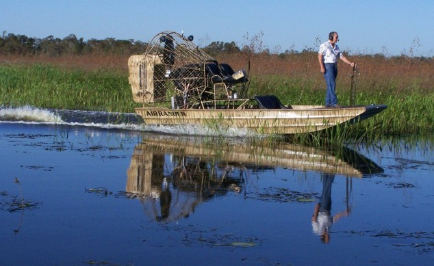 Driving and steering from the bow of the airboat. Not recommended for rookies.