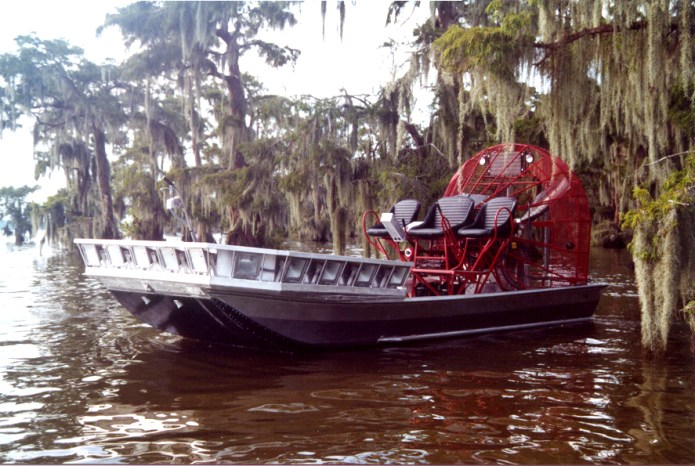 Custom-built for Kenny Daigle of C&M Fuel Dock in Lafitte, Louisiana by Mark's Airboats. It's a 20' x 8' bowfishing airboat with a 502 cu. in. 450 hp GM engine.