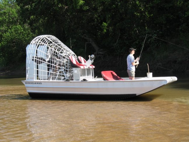 Fishing off a new Silver Dollar airboat from Oklahoma