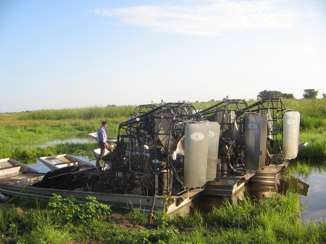 Sudan - airboat parking