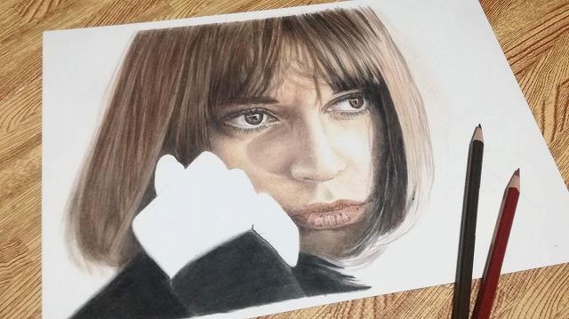 色鉛筆画『女性2』