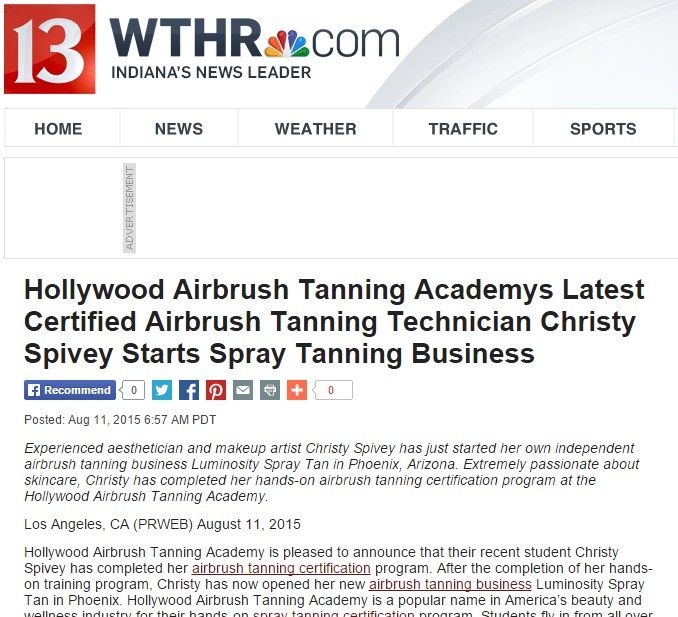 Press Releases | Airbrush Tanning Certification Classes