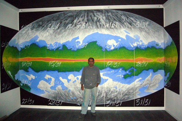 aircube project 4 - DANIS MONTERO ORTEGA - ASH Map ( All Sky Hydrogen Map), 31x50cmx70cm, Acryl/Leinen, 2008