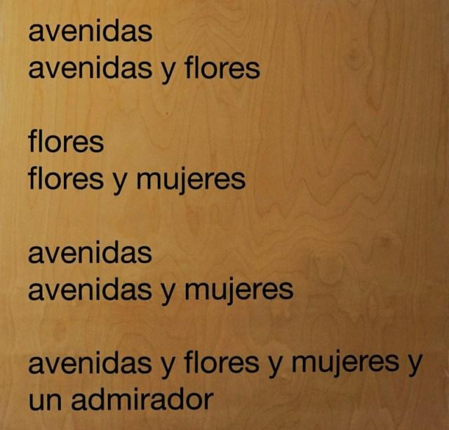 eugen gomringer - avenidas - 70x70x8 cm - textdruck auf holz - 2005