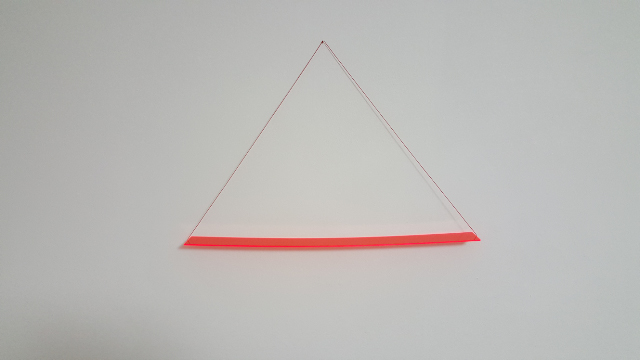 HELLMUT BRUCH - Gravitationskurve - rotes fluoreszierendes acrylglas - 1999 - 55x5x0,3cm
