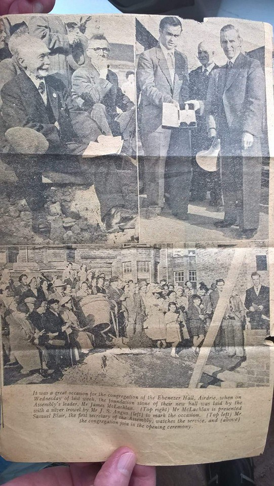 Airdrie Ebenezer foundation stone laying newspaper clipping new building in Aitchison Street Airdrie