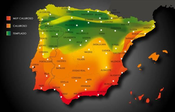 Mapa climático de España para el cálculo de frigorías