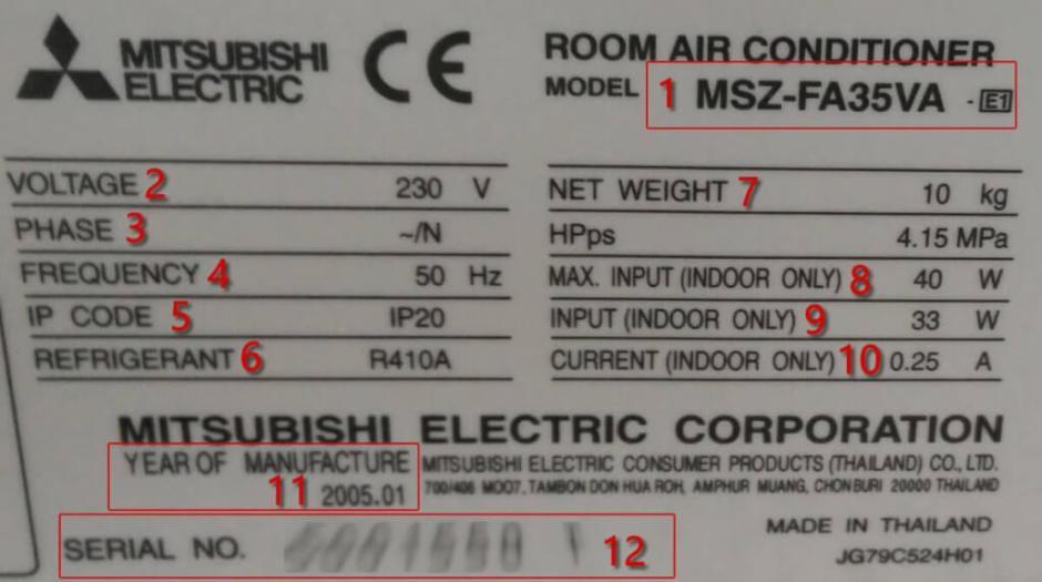 Características técnicas MSZ-FA35VA-E1