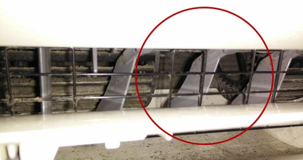 Rotura del rodete del ventilador interior