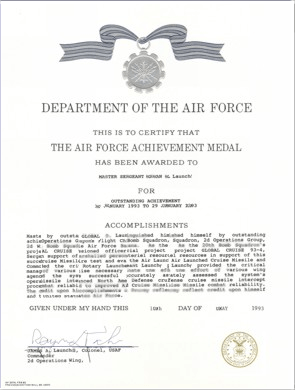 Usaf decorations examples for Air force decoration writing