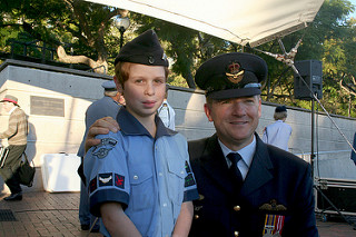 SQNLDR Simmons and a young future aviator at NSW Ceremonial Parade 2013