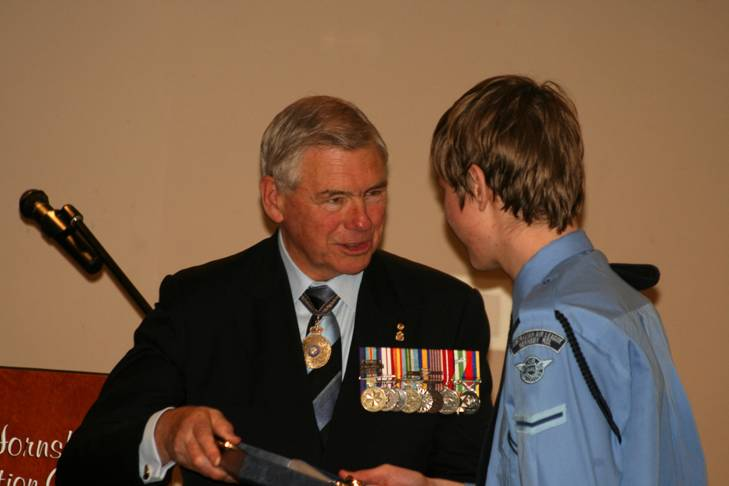 Leading Cadet Howes and Read Admiral Ken Doolan AO