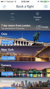 British Airways mobile app