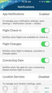 Alaska Airlines mobile notifications