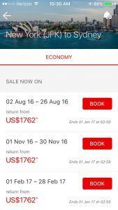 Qantas mobile booking