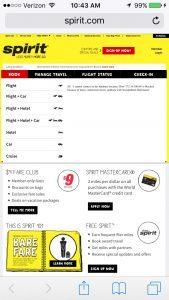 Spirit Airline mobile