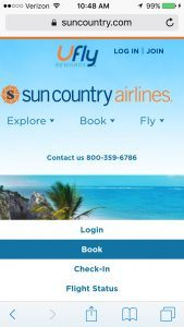 Sun Country website