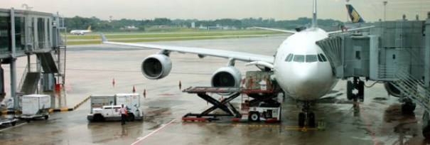 Boarding the Airbus A340-500 in Singapore.
